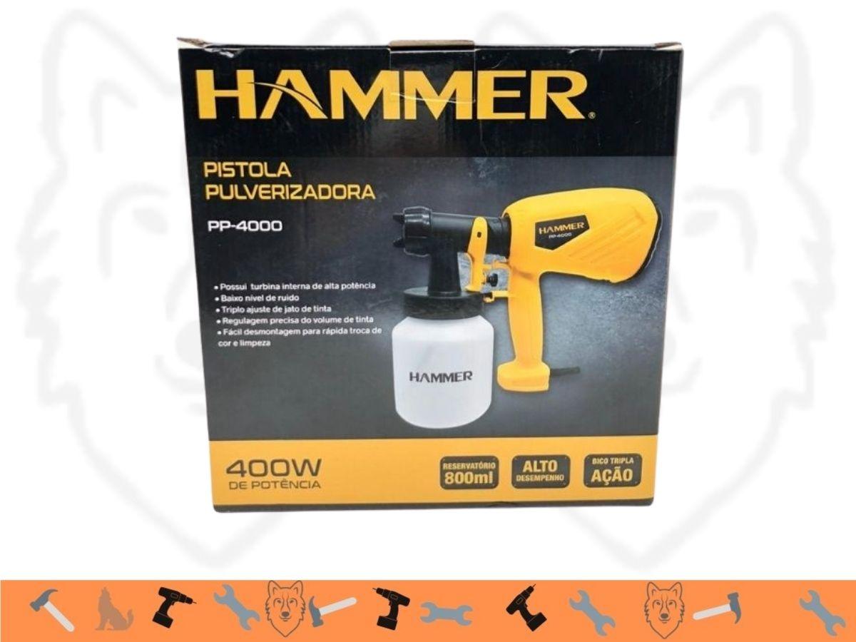 Pistola De Pintura 400w Hammer Pp-4000 Bico Tripla Ação