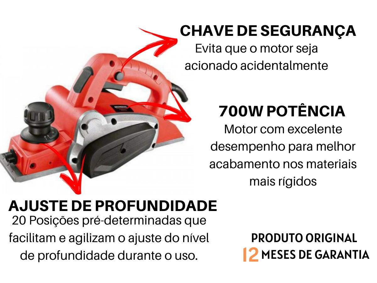 "Plaina Elétrica 700w Mondial Fpl-02 3.1/4"" Vermelha 16500rpm"