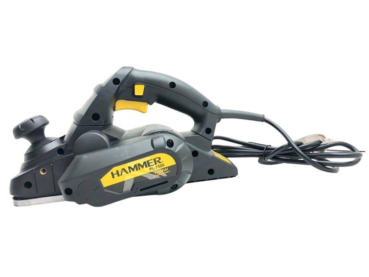 Plaina Elétrica 750w Hammer Pl-7500 3.1/4 Pol. Com Regulador De Profundidade