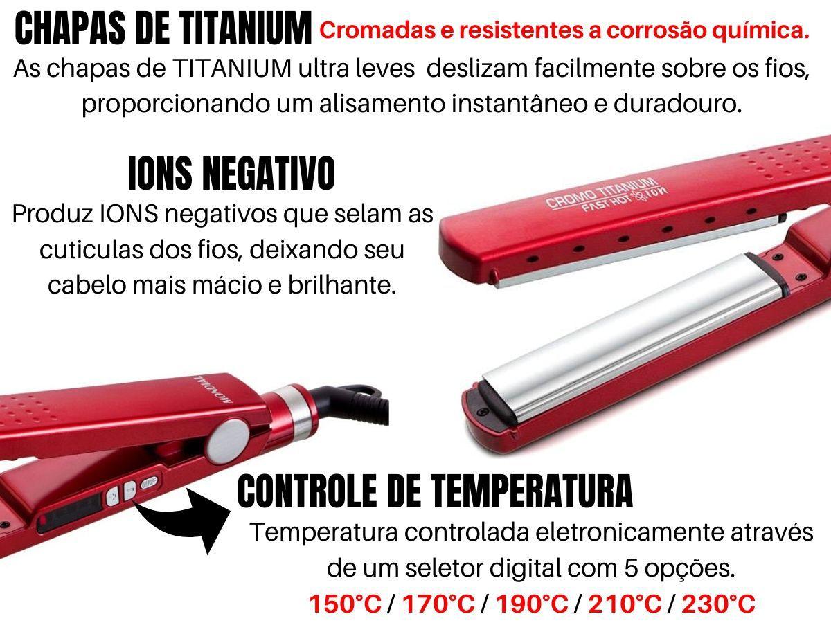 Prancha Alisadora Mondial Lap-53 Cromo Titanium Fast hot Íon - Bivolt