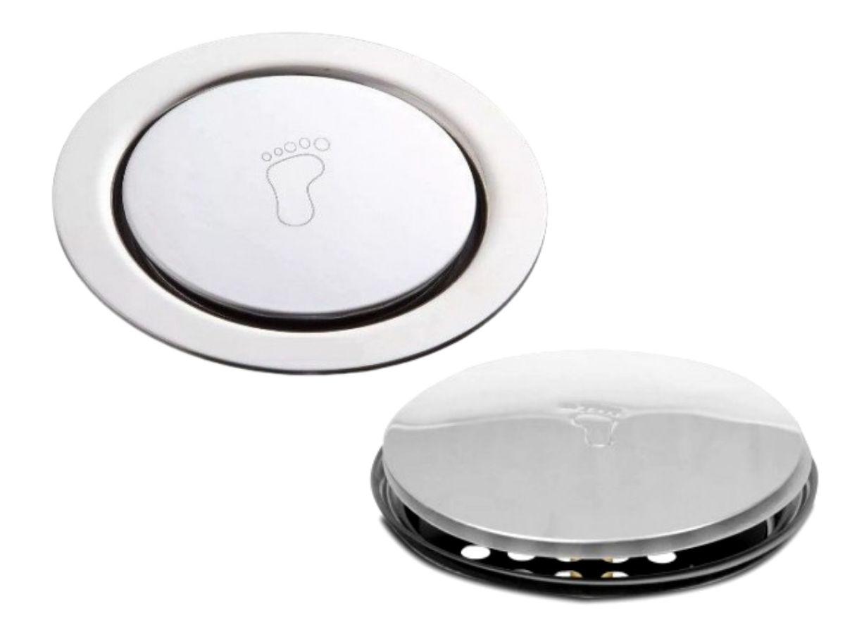 Ralo Click 15x15cm redondo Aco Inox Sistema Inteligente Para Banheiro GlobalMix - GH055