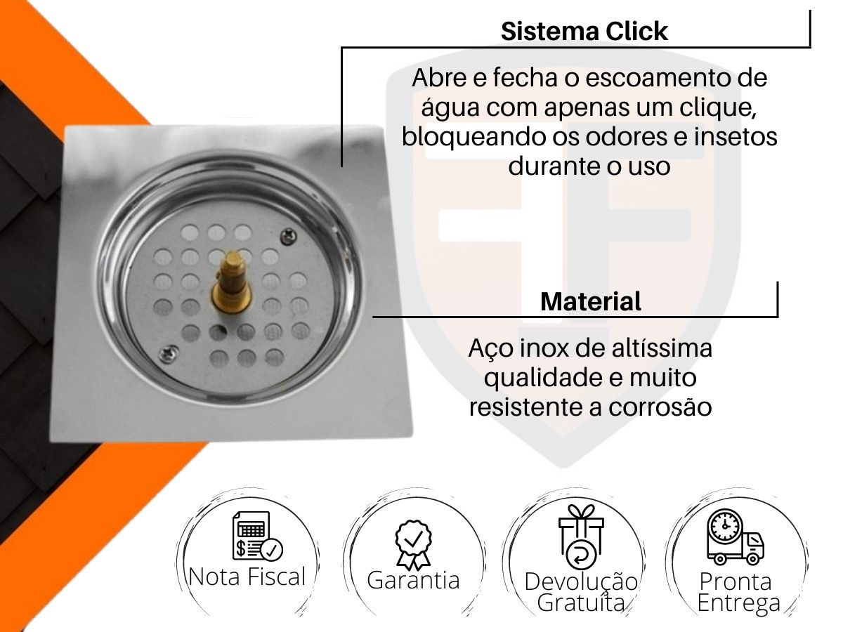 Ralo Inteligente Click Quadrado 10x10cm Aço Inox Globalmix GH052