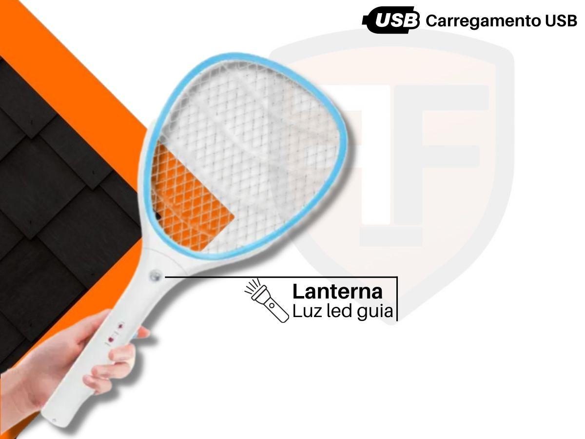 Raquete Mata Insetos NSBAO YG-5620 Usb Com Lanterna
