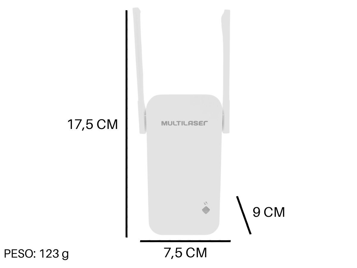 Repetidor De Sinal Multilaser RE056 2 Antenas 300 Mbps Bivolt