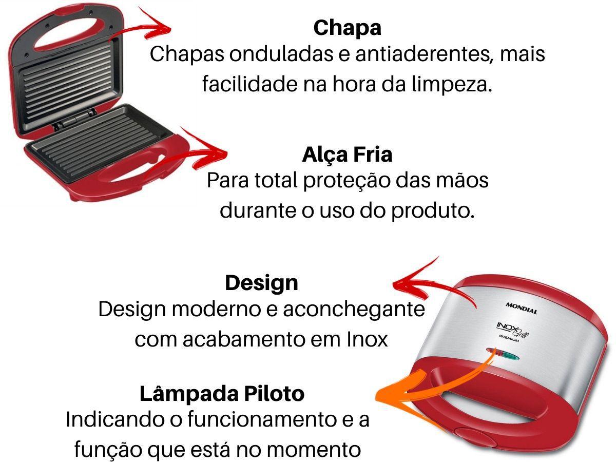 Grill E Sanduicheira Mondial S-19 Vermelha Com Inox 800w