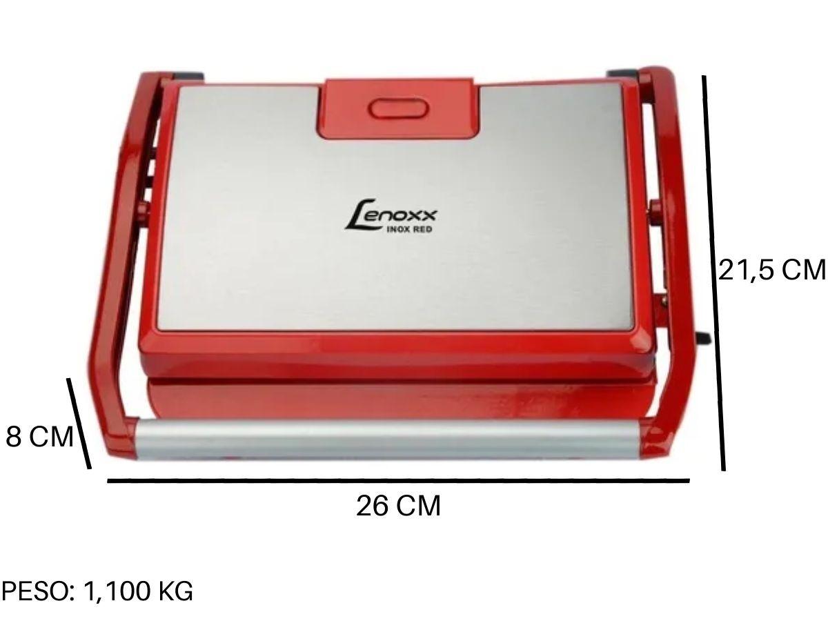 Grill E Sanduicheira Lenoxx Pgr-155 Panini Inox Red 850w
