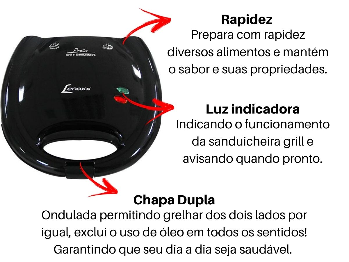 Grill E Sanduicheira Lenoxx Psd-113 Pratic 750w Antiaderente
