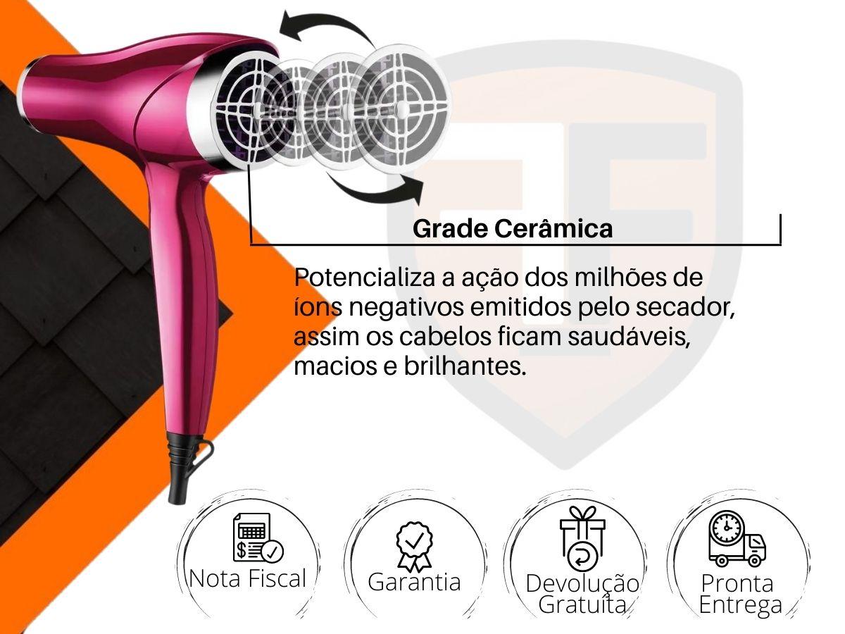 Secador De Cabelos Mondial Sc-36 Chrome Line Pink