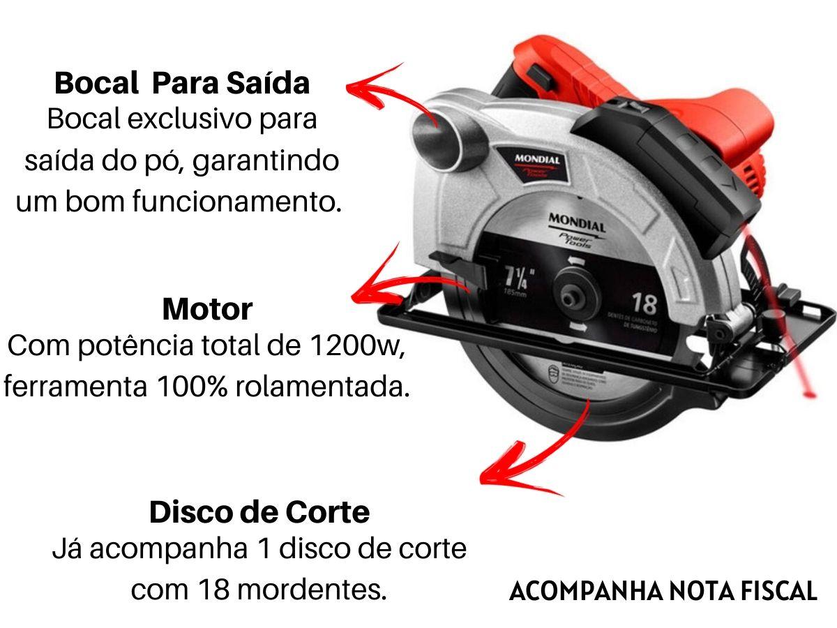 Serra Circular 1200w Mondial Fsc-03 185mm Com Disco De Corte