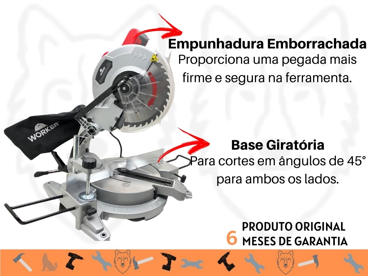 Serra Esquadria 1800w Worker 981923 250mm Com Base Giratória