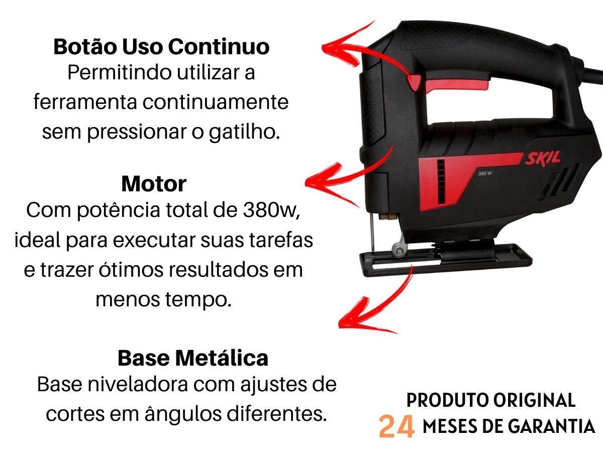 Serra Tico Tico 380w Skil 4380 Madeira Aço e Gesso