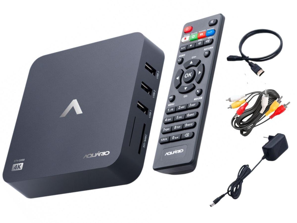 Smart Tv Box Aquário STV-2000 4K Android C/ Cabo HDMI Incluso