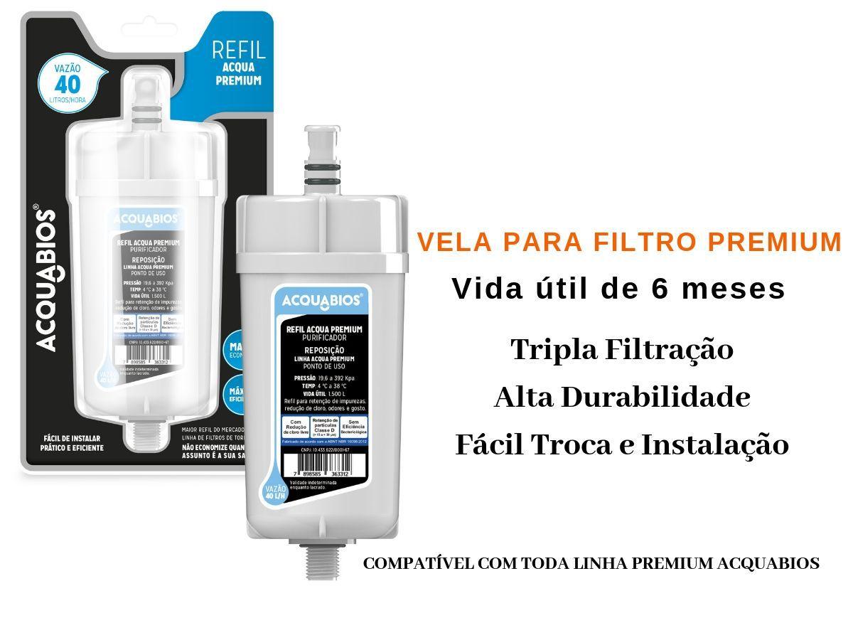 Torneira Com Filtro Acquabios Premium Parede Luxo 1/4 De Volta + 2 Refis Adicionais