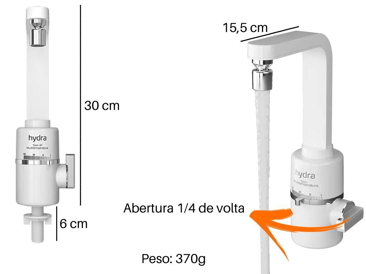 Torneira Elétrica Hydra Slim 4T Bancada De Cozinha