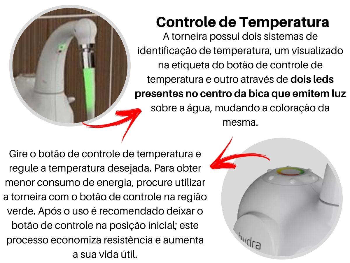 Torneira Eletrônica Hydra Lumen De Cozinha Branca Parede
