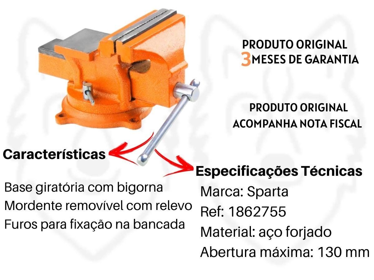 Torno Morsa De Bancada Sparta N6 150mm Base Giratória 1862755