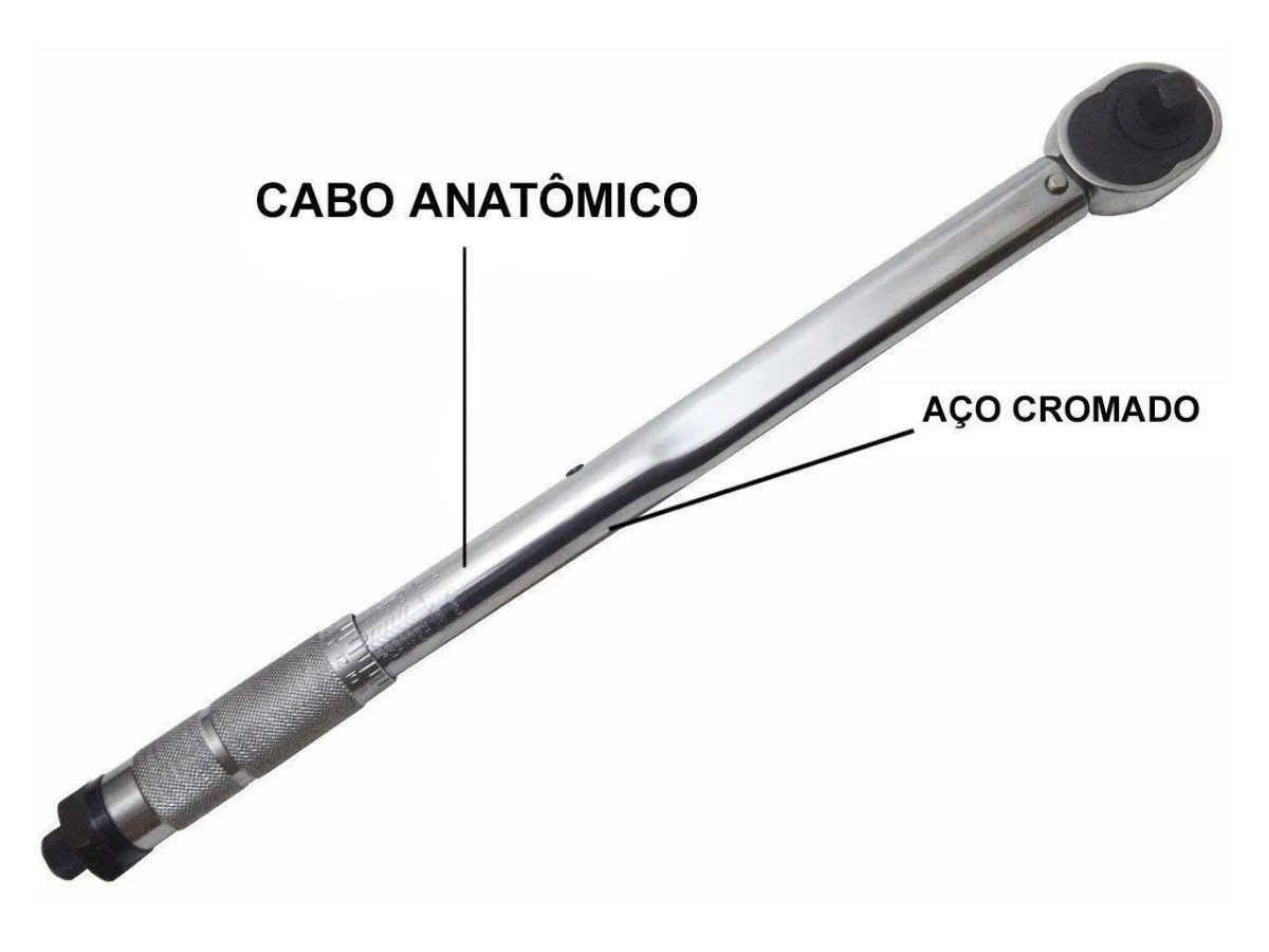 "Torquímetro De Estalo Eda 9EN Com Cabo Anatômico 1/2"" Aço Carbono"