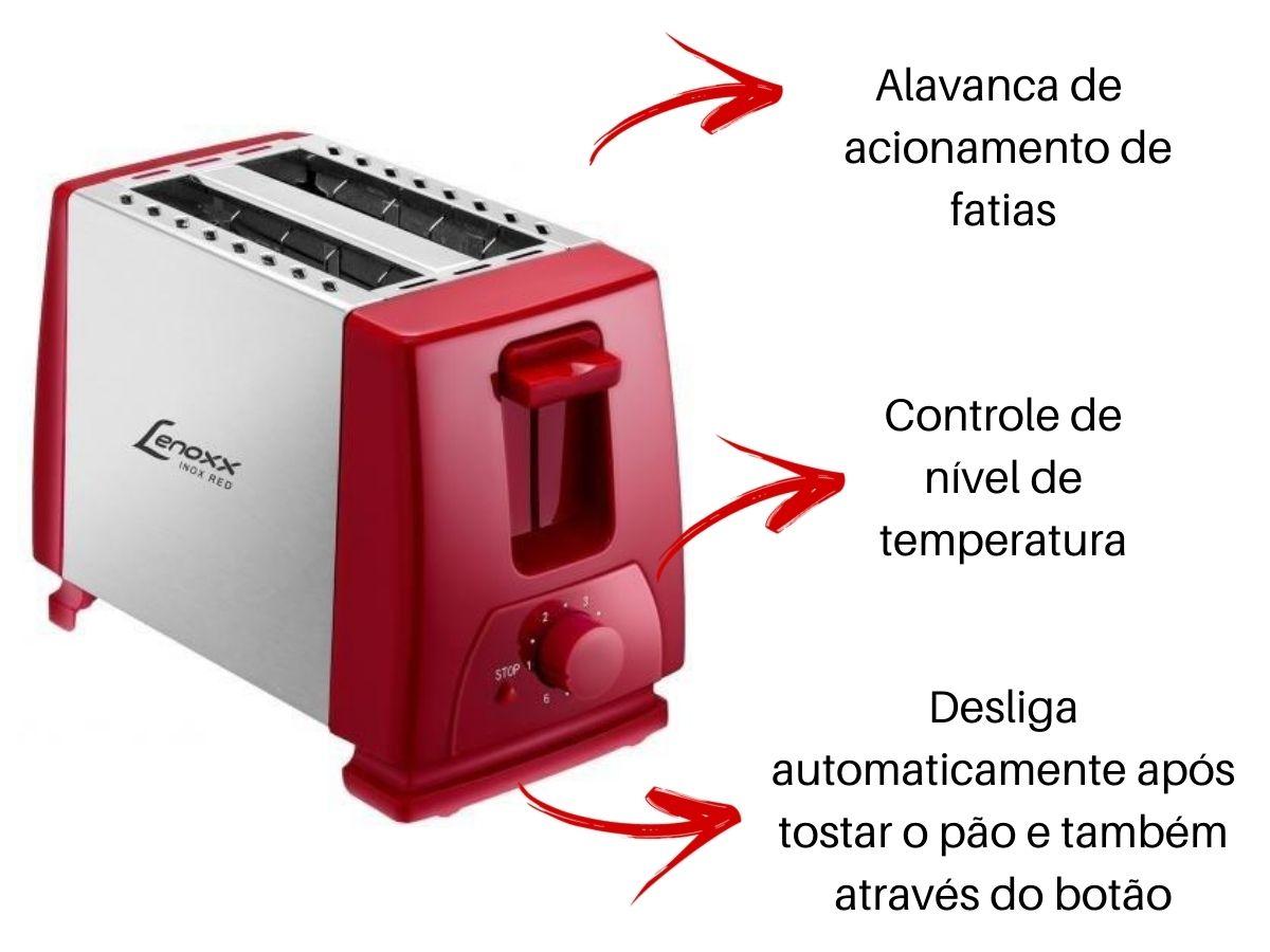 Torradeira Elétrica Lenoxx Ptr-203 Inox Red Duo