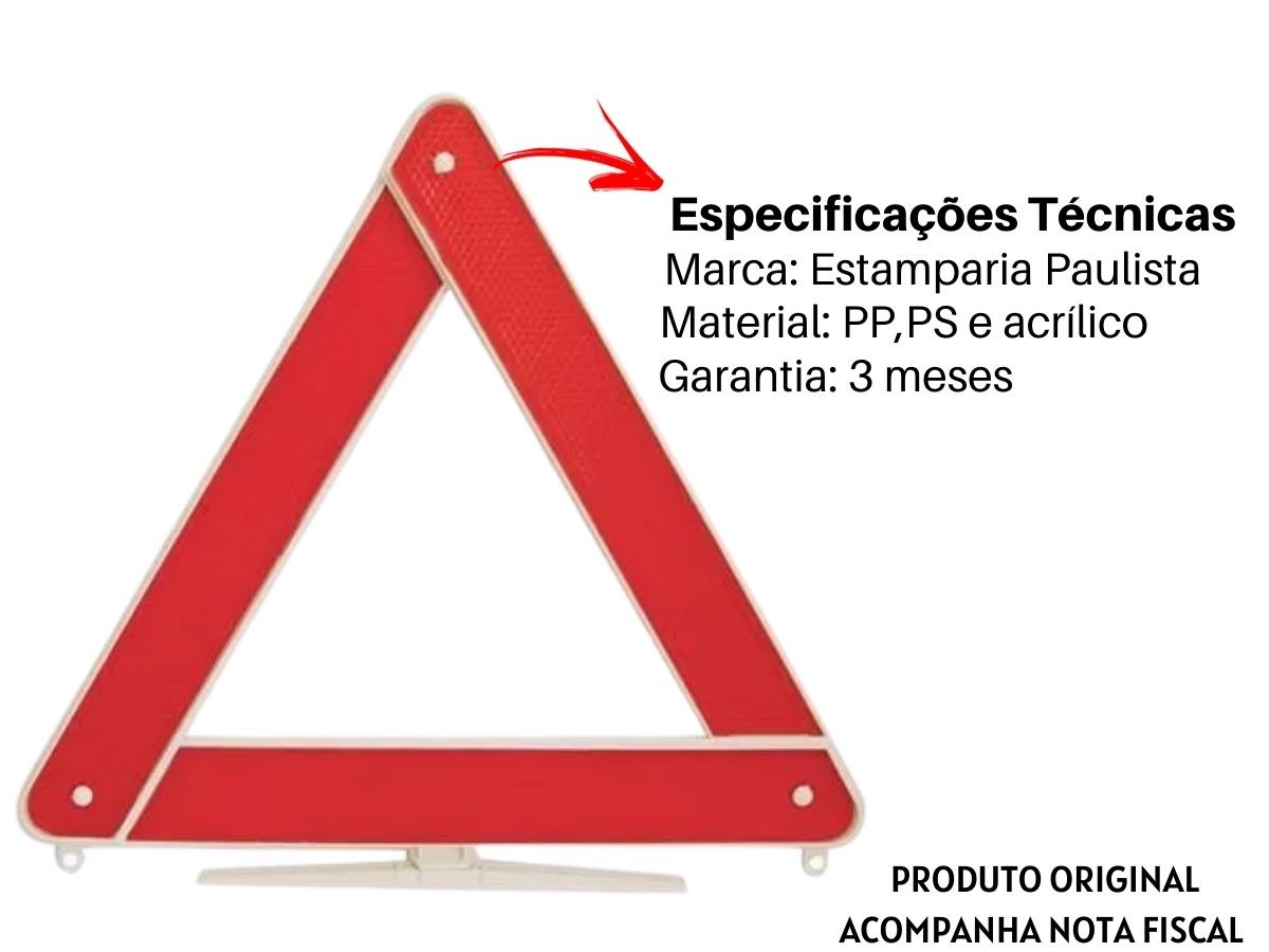 Triângulo Sinalizador De Carro Estamparia Paulista T-002