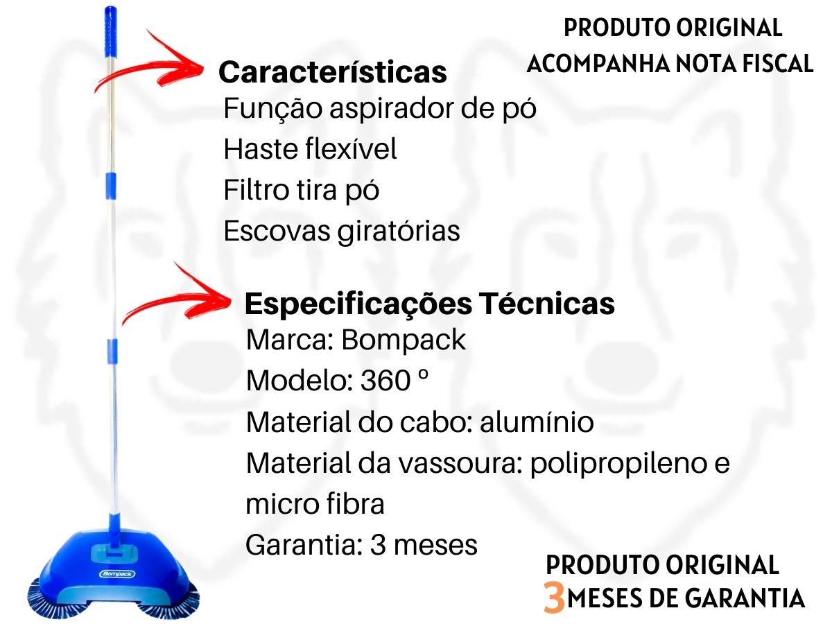 Vassoura Mágica Bompack 360º 3 Em 1