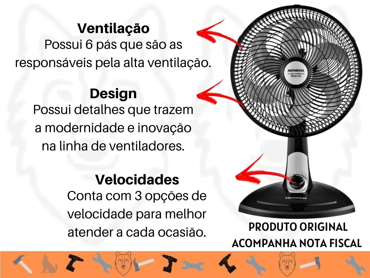 Ventilador De Mesa 30cm Mondial VT-31 6P 50w Turbo Silencioso