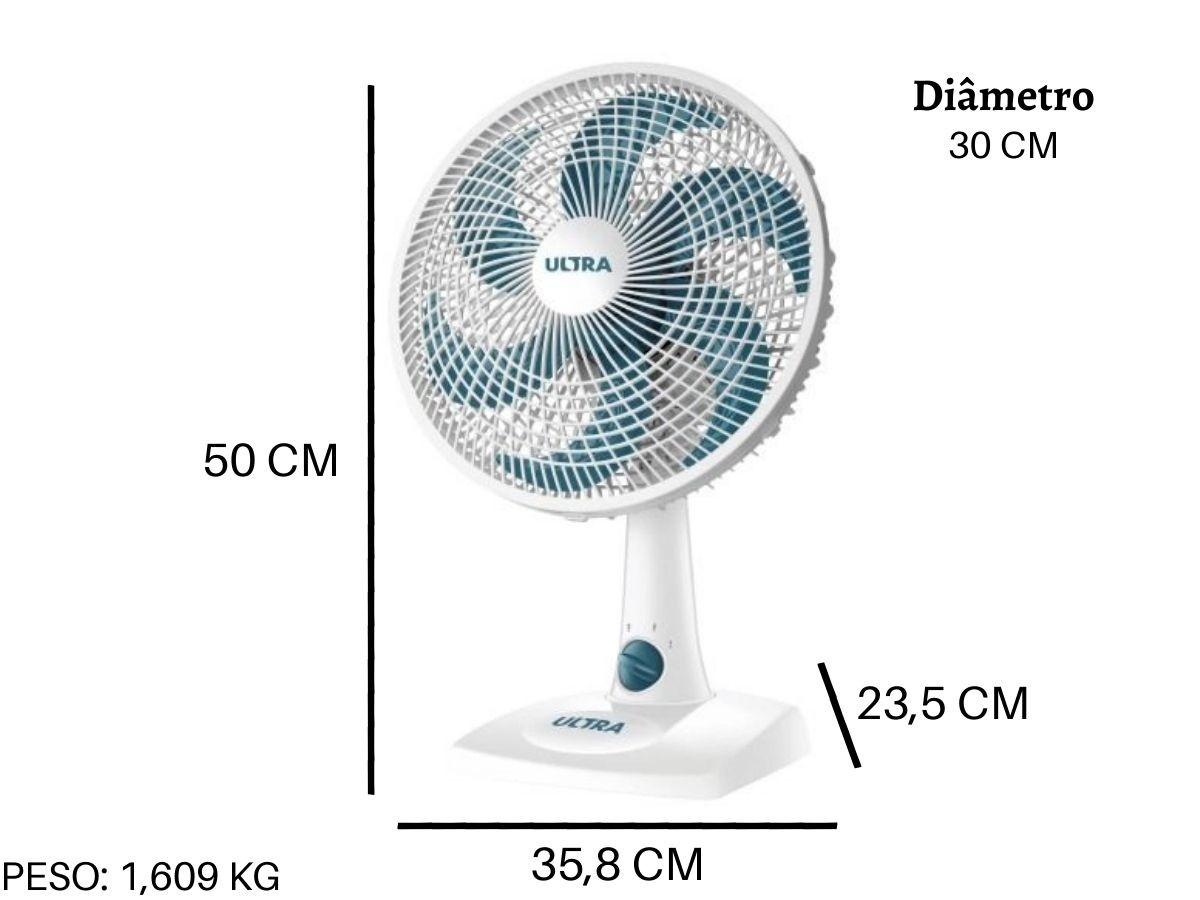 Ventilador De Mesa 30cm Ultra V-30 50w 6 Pás 3 Velocidades Oscilante