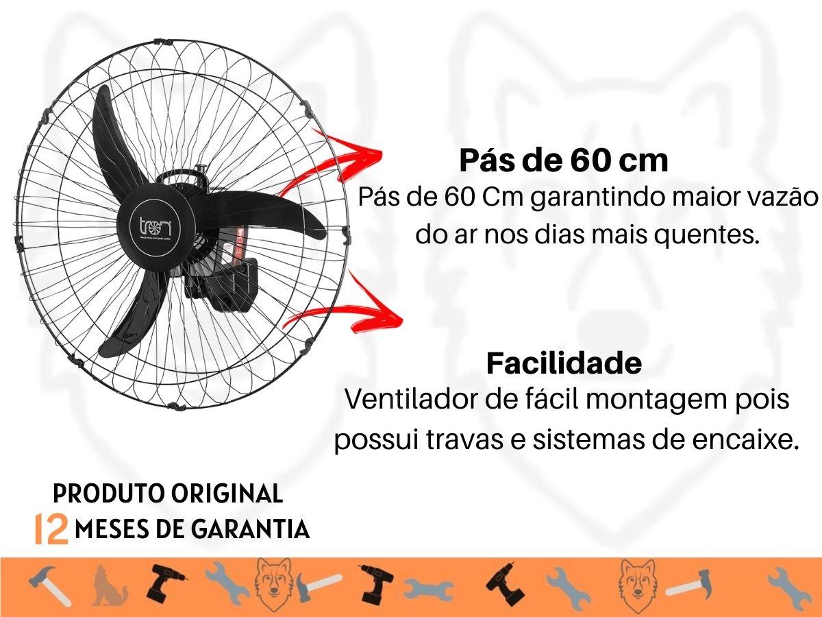 Ventilador De Parede 60cm Tron 140W Bivolt Oscilante