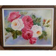 Quadro Pintado em Tela  Rosas