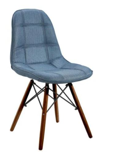 Cadeira DKR Botonê Linho Base Madeira Escura Or Design
