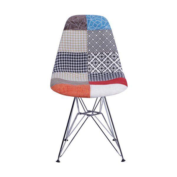 Cadeira DKR Patchwork Base Metal Cromada Or Design