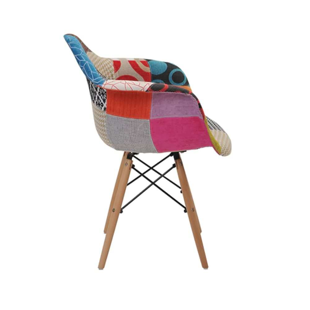 Cadeira Eiffel Patchwork Com Braço Base Madeira Rivatti