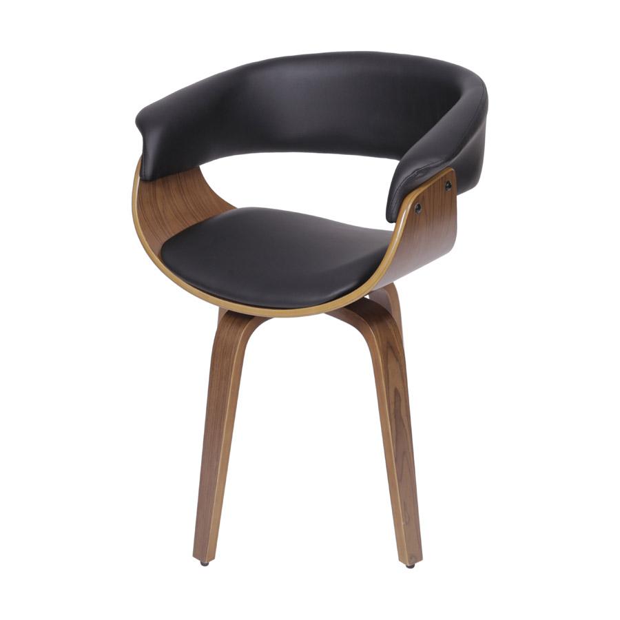 Cadeira Elba Giratória Preta Base Madeira OR Design