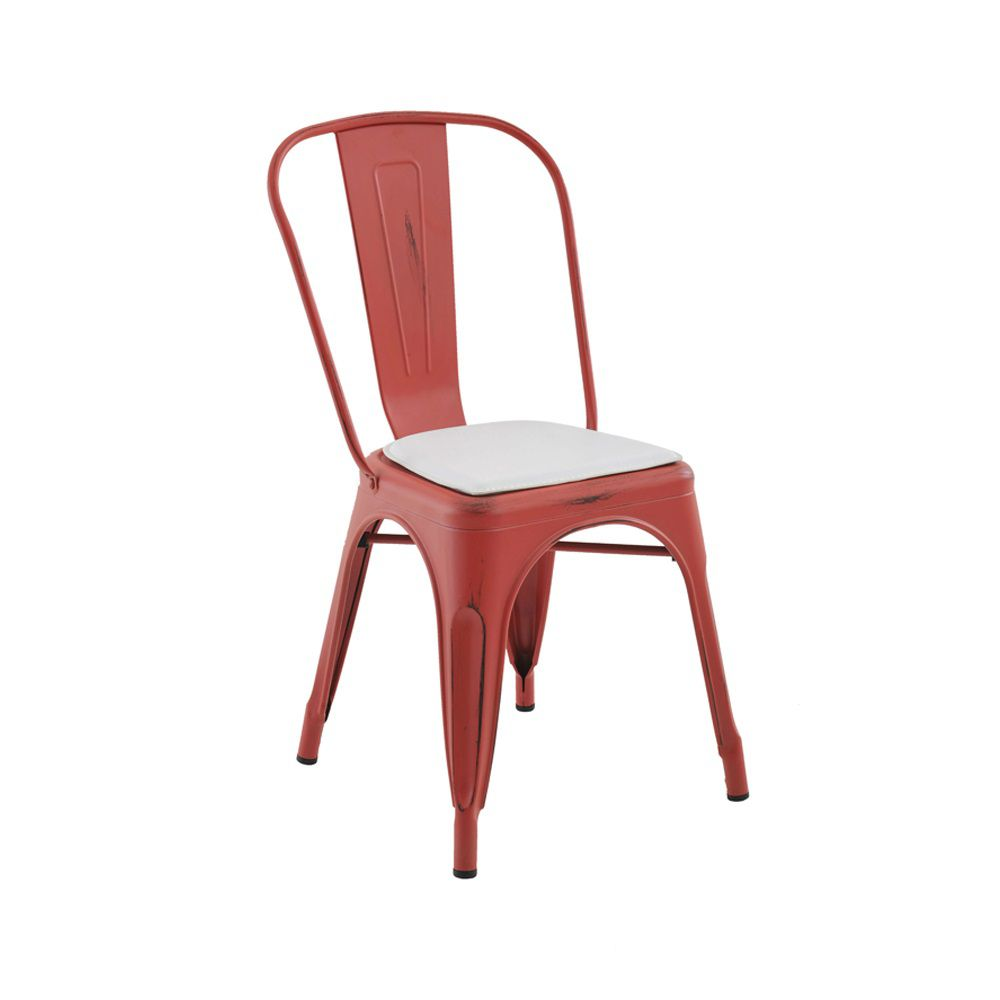 Cadeira Iron Vintage Com Almofada Branco RIvatti