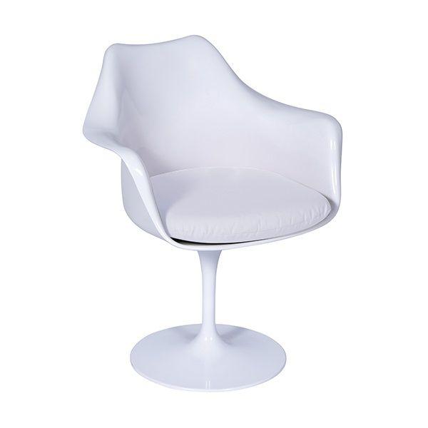 Cadeira Saarinen Branca com Braço e Almofada Or Design