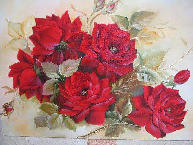 Quadro Pintado em Telas Rosas Vermelha