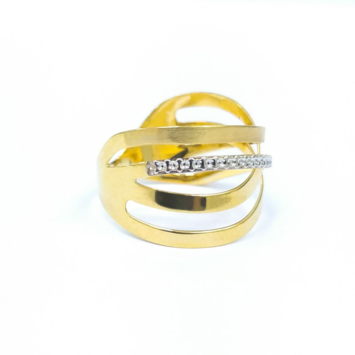 Anel em Ouro 18K - Amarelo & Branco Traco