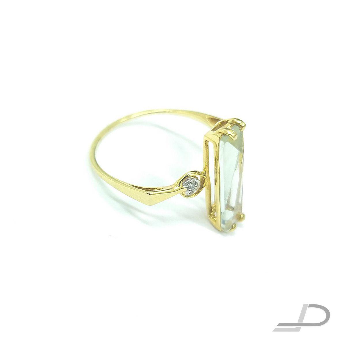 Anel em Ouro 18K - Cristal Retangular