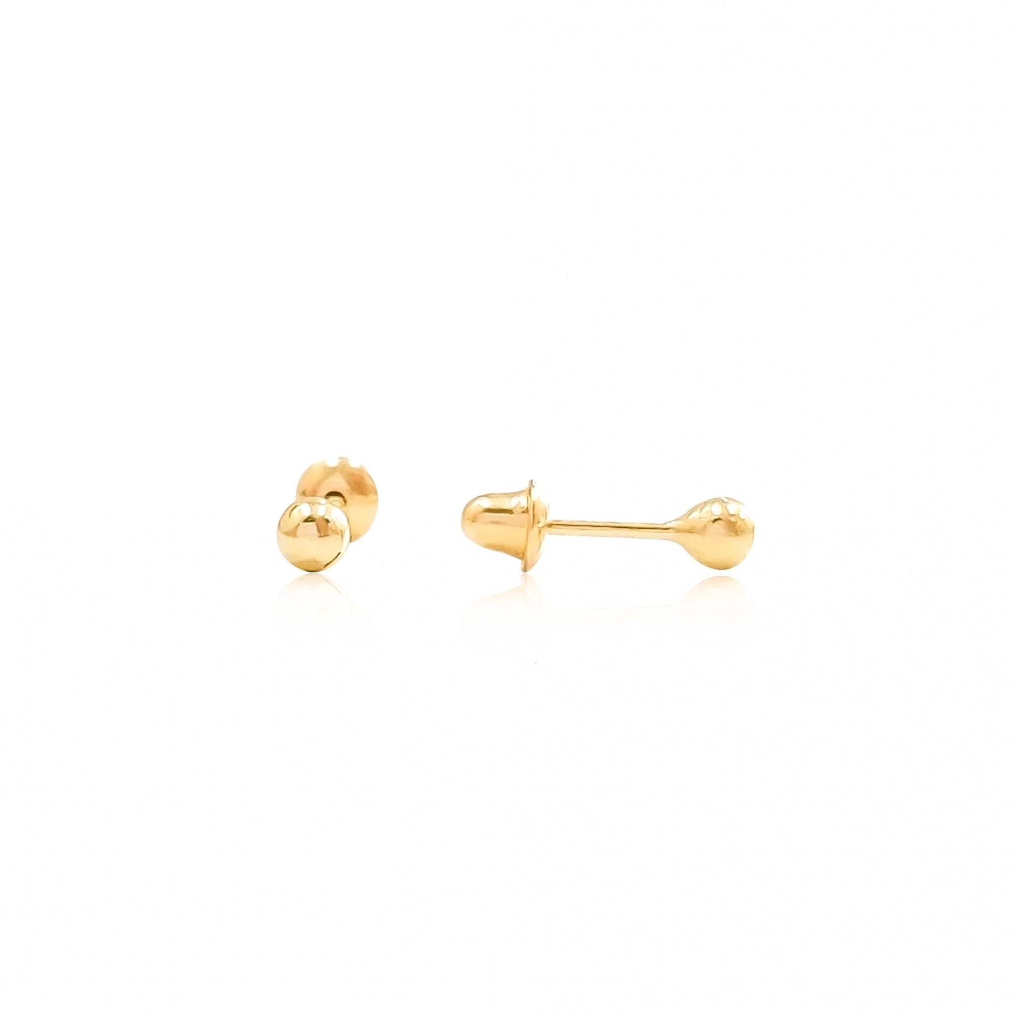 Brincos de Bolinha Infantil Baby em Ouro 18K 2,5mm