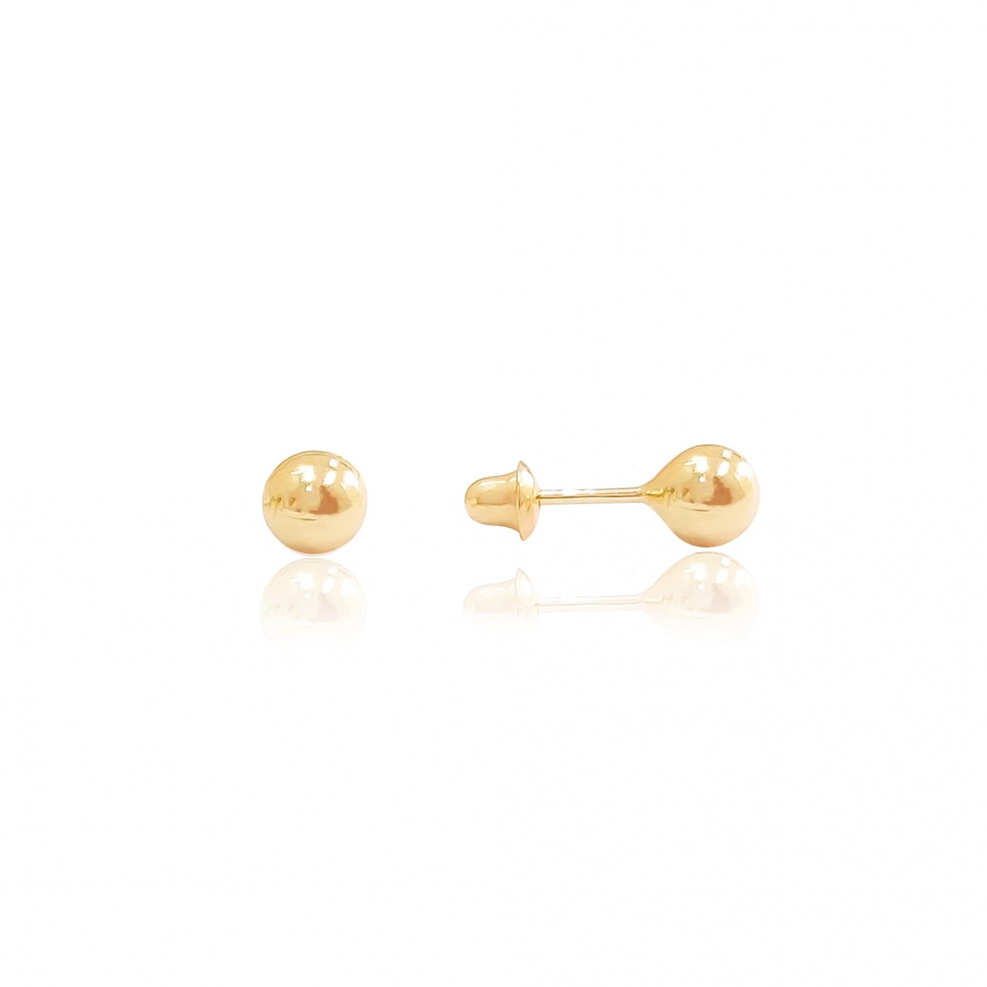 Brincos de Bolinha 4mm em Ouro 18K 750 Infantil Baby