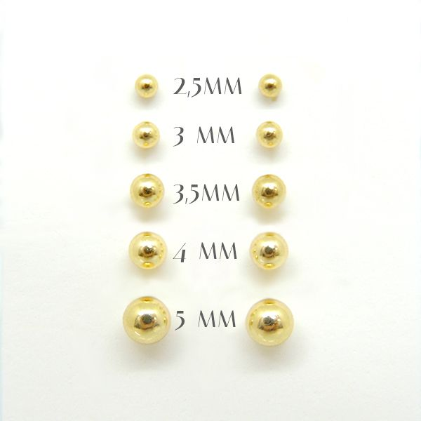 Brincos de Bolinha de Ouro 2.5MM à 5MM