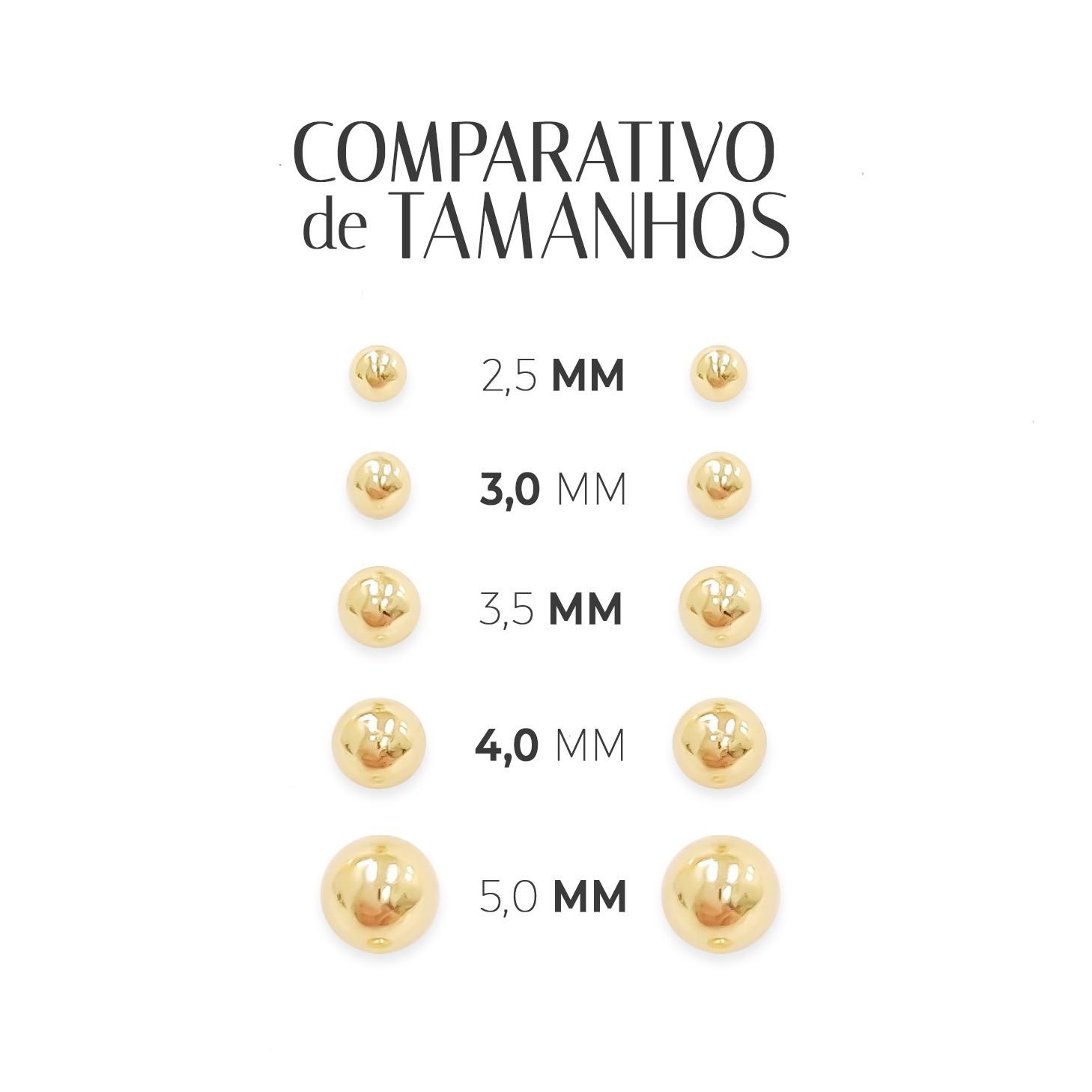 Brincos de Bolinha Infantil Baby em Ouro 18K 5mm