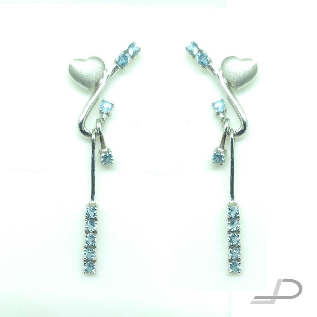 Brincos de Ouro Branco 18K - Coração c. Topázios Azuis
