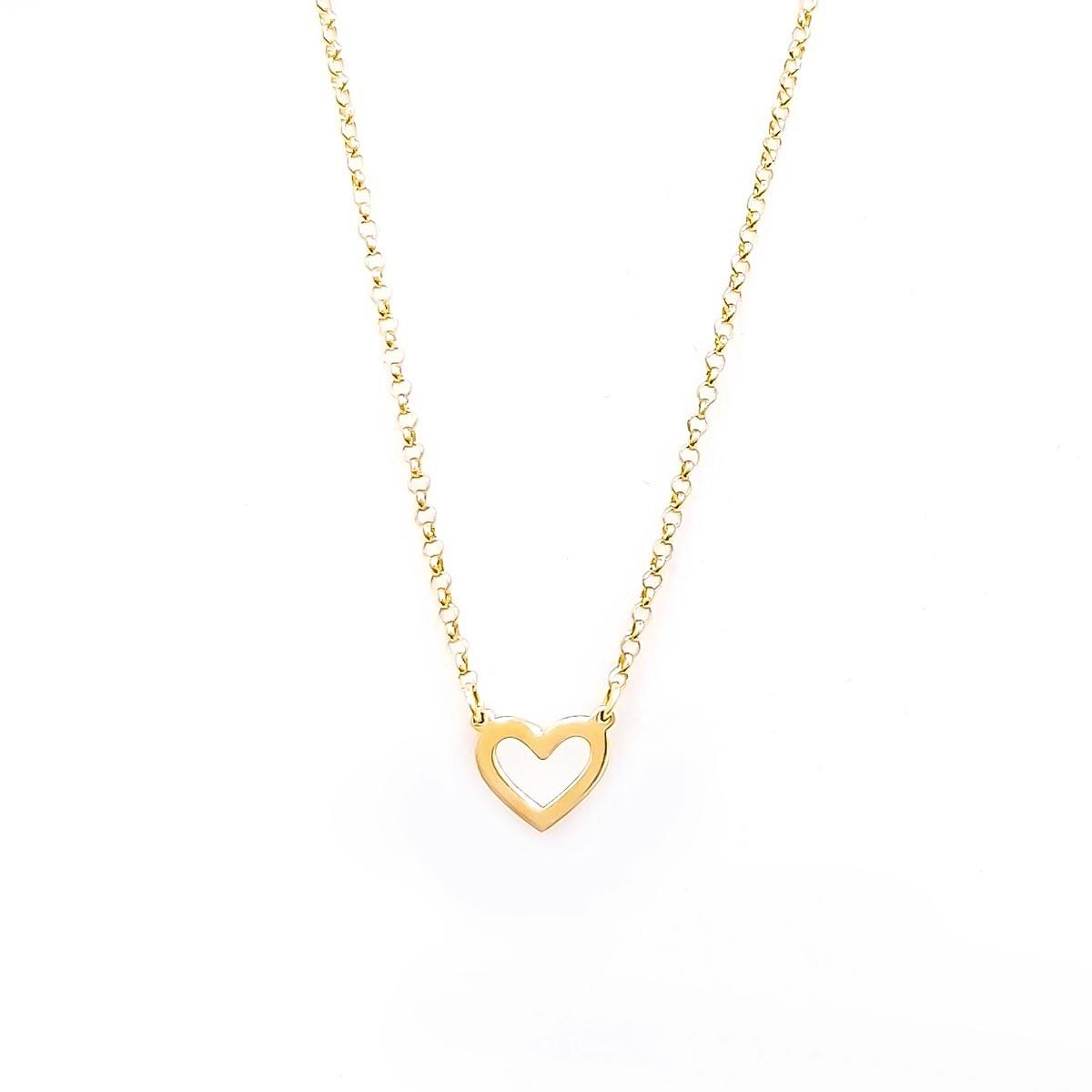 Gargantilha Coração Pequeno Vazado em Ouro 18K