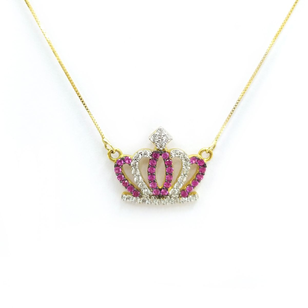 Gargantilha Coroa em Ouro 18K - Zirconia
