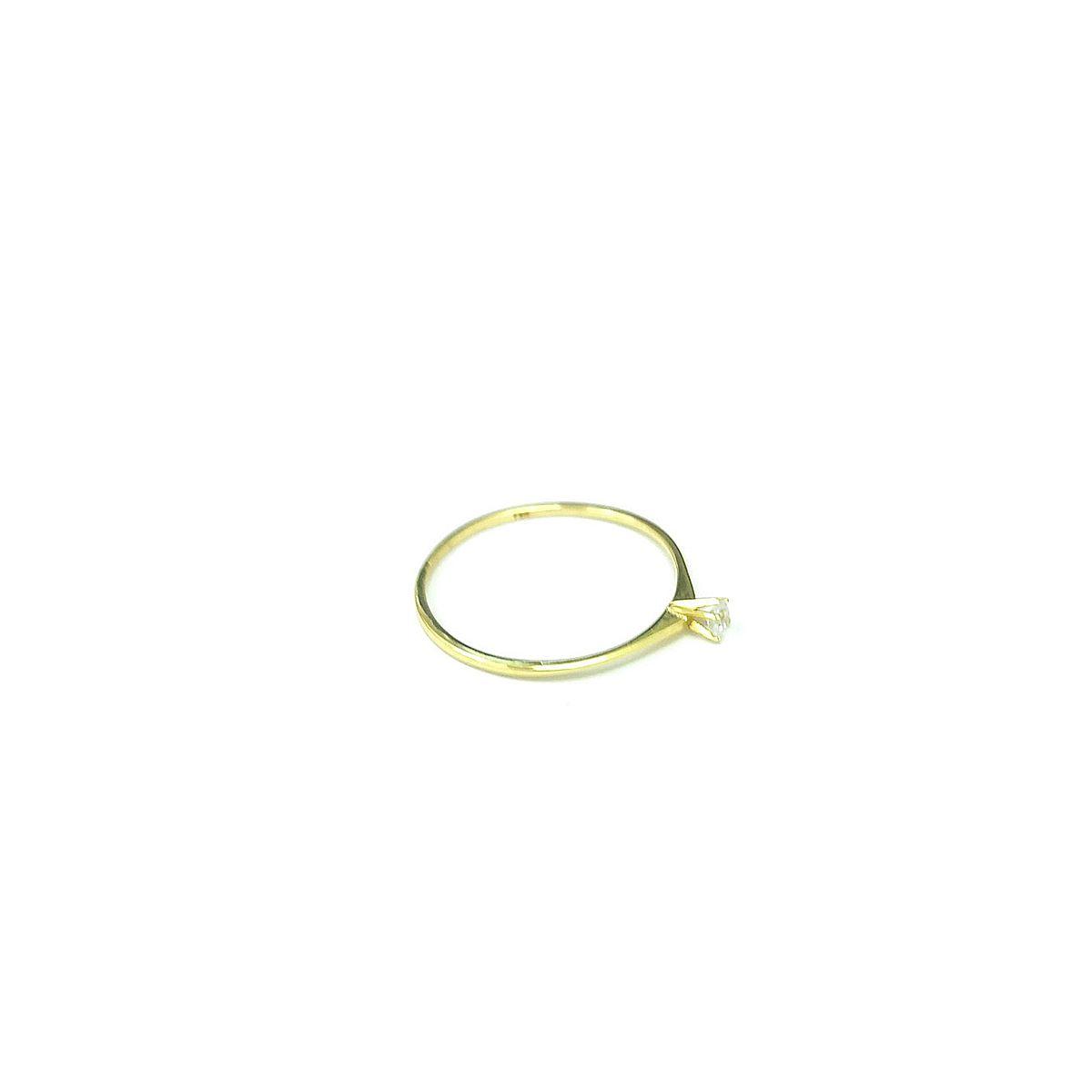 Solitário em Ouro 18K - Zirconia Central 2,4mm