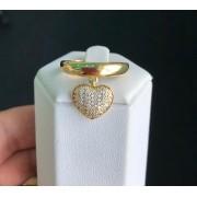 Anel Coração Pendurado Pedra Cristal
