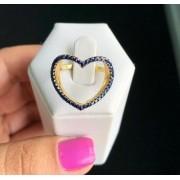 Anel Coração Vazado Pedras Azuis