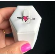 Anel Solitário Coração Pequeno Pedra Rubelita