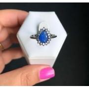Anel Solitário Gota Pedra Azul Safira