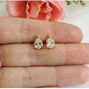 Brinco Gota Pequena Com Pedra De Zircônia Cristal